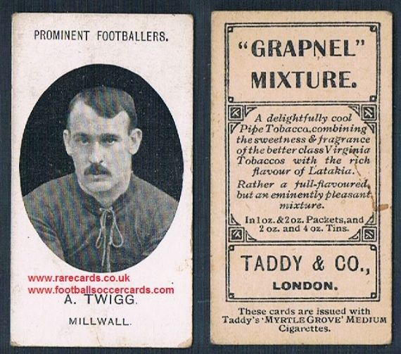 1908 Taddy 2nd series A Twigg Millwall footnote tobacco card